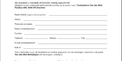 Afbeelding aanvraag formulier tankpas